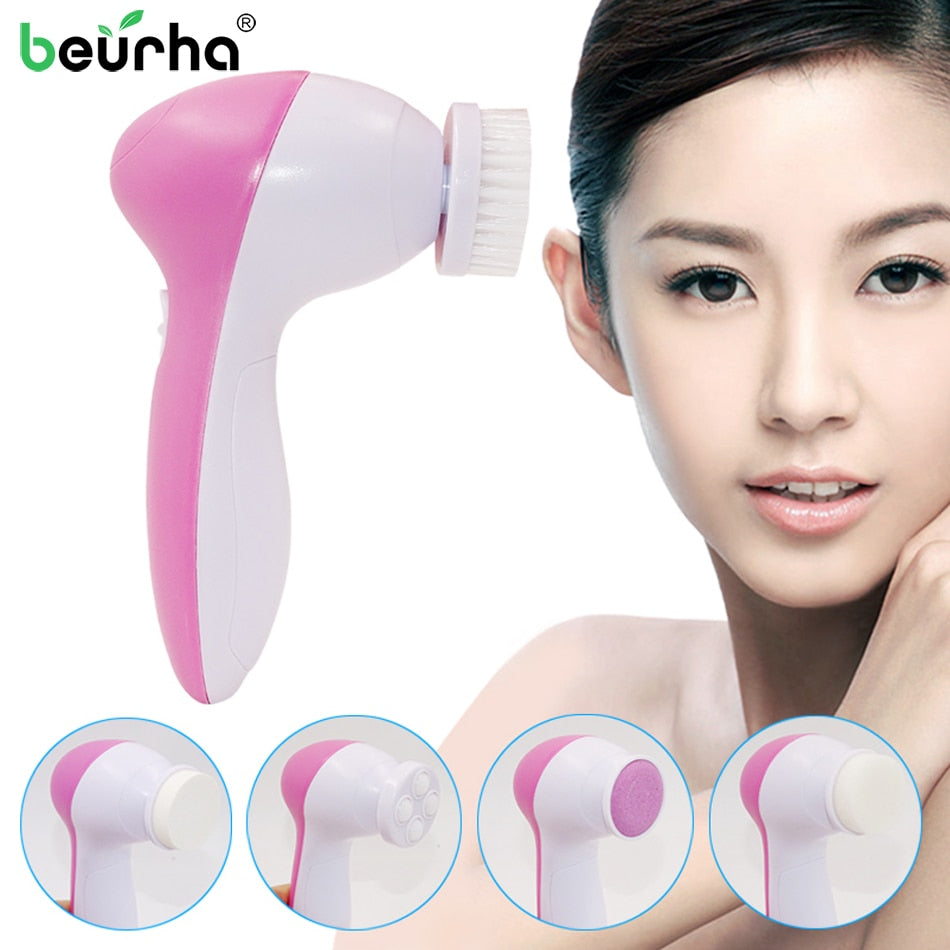 5 in 1 Electric Body Face Wash Machine Facial Pore Cleaner Face Cleaning Massage Mini Skin Care Tool Beauty Massager Brush Set