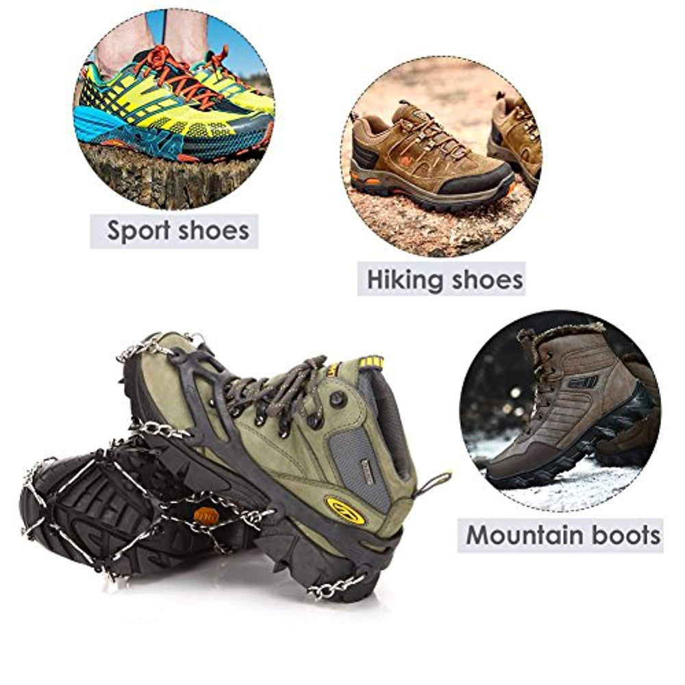 8 Teeth Anti-Slip Traction Cleats Grips Crampon for Snow & Ice Safe Protect Shoes Boots Ice Cleats