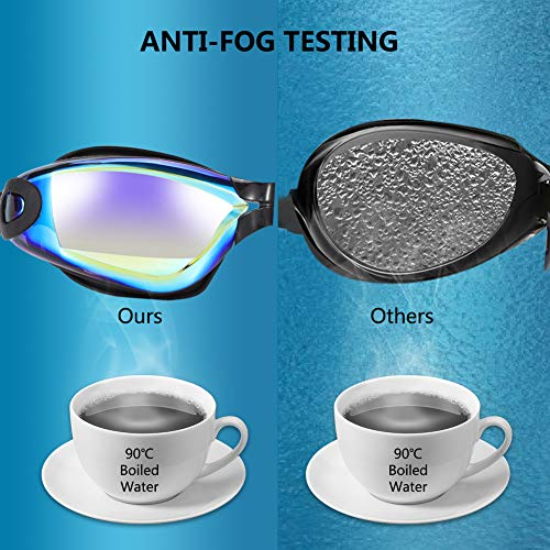 Swimming Goggles No Leaking Anti Fog UV Protection Triathlon Swim Goggles with Nose Clip and Ear Plugs and Protection Cap