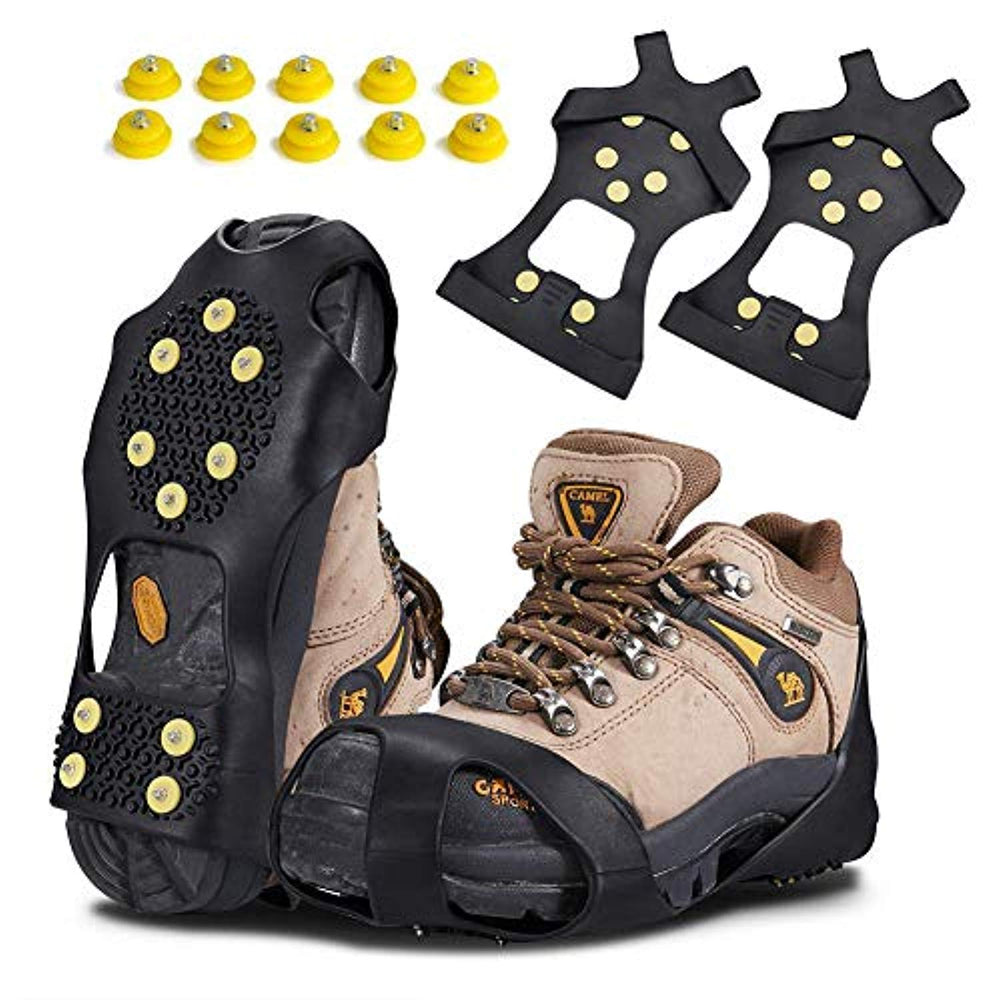Snow Grips Ice Traction Over Shoe or Boot Rubber Anti Slip Tread Footwear Spikes KUYOU Traction Ice Cleats