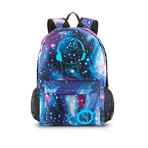 School Backpack Cool Luminous School Bag Unisex Galaxy Laptop Bag with Pencil Bag for Boys Girls Teens - Blue