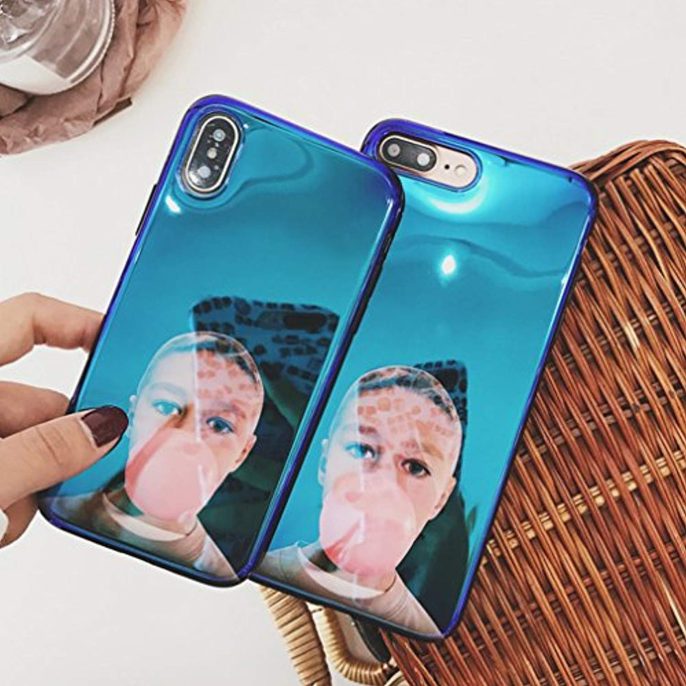 Kuyou Blue light Cool Boy blowing bubbles Protect soft shell Protective Cover (for Apple iPhone 7)