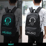 Anime Backpack for School, SKL Luminous Backpack Canvas Cartoon Backpack with USB Cable and Lock and Pencil Bag for Teens Girls Boys
