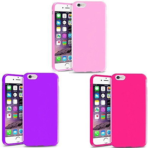 iPhone 6 Plus Case, iPhone 6s Plus Case, [5.5 inch], [Slim Fit] 3PCS TPU Case Skin Cover [Anti-Shock Protection] Compatible with Apple iPhone 6 (5.5) - Hot Pink+Light Pink+Violet
