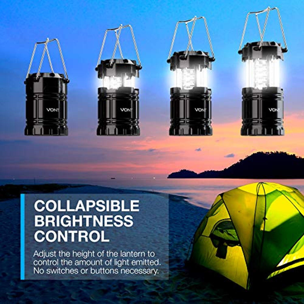 Vont 2 Pack LED Camping Lantern, Super Bright Portable Lanterns, Must Have During Hurricanes, Emergencies, Storms, Outages, Original Patented Collapsible Camping Lights / Lamp (Includes Batteries)