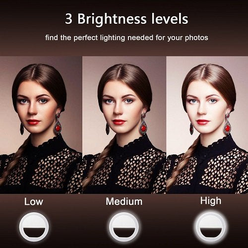 GIM l187 Rechargeable Selfie Ring Light, Super Slim, Selfie Light Ring 3-Level Brightness 36 Led Portable