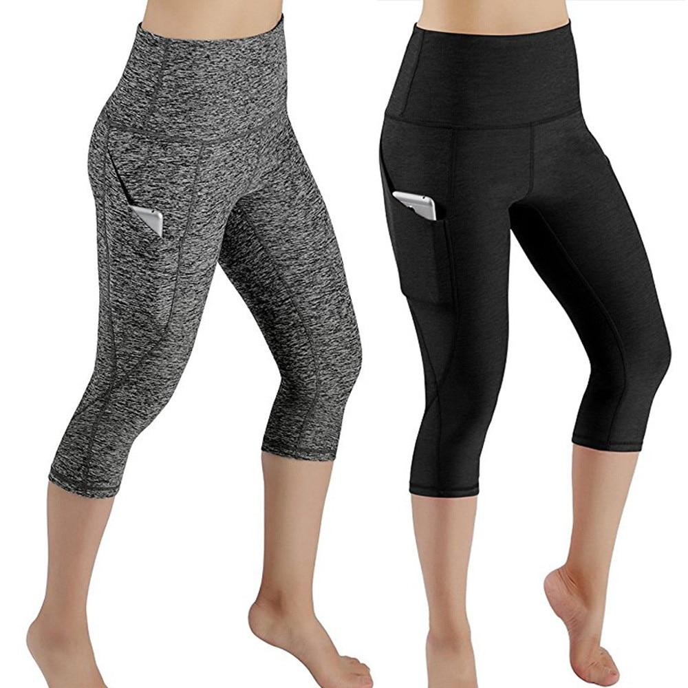 Slim Tight Sportswear Women Workout Out Pocket Leggings Fitness Sports Gym Running Yoga Athletic Pants Elasticized waistband