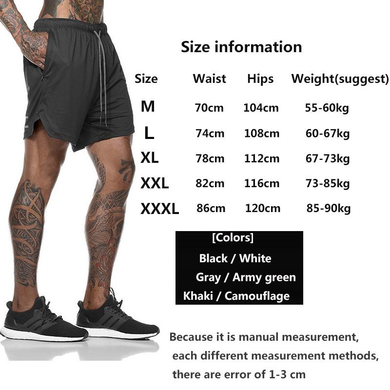 Men's 2 in 1 Running Shorts Men Sports Crossfit Shorts Quick Dry Training Exercise Joggers Gym Shorts with Built-in pocket Liner