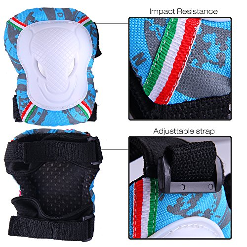 Knee Pads for Kids, Knee Pad Elbow Pads Guards Protective Gear Set 3 in 1 for Skateboarding Inline Roller Skating Cycling Biking BMX Ski Scooter