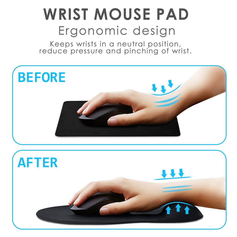 Ergonomic Mouse Pad with Wrist Support - GIM Black Silicone Gel Wrist Support Mouse Pad Mat