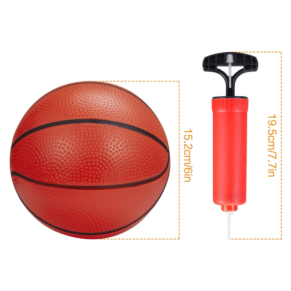 BESTTY 6 Inches Colorful Toddler Kids Replacement Mini Toy Basketball Rubber Baketball for Kids, Teenager Basketballs (5 PCS with 1 Air Pump)
