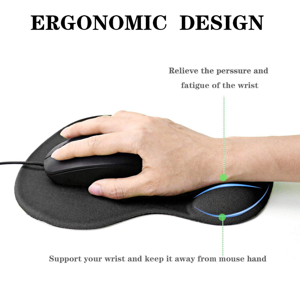 GIM Mouse Pad Gel, Mouse Pad Mat with Gel Wrist Rest Support Anti-Slip Comfort Pad Gel Mice Mat for Laptop Computer (Black)