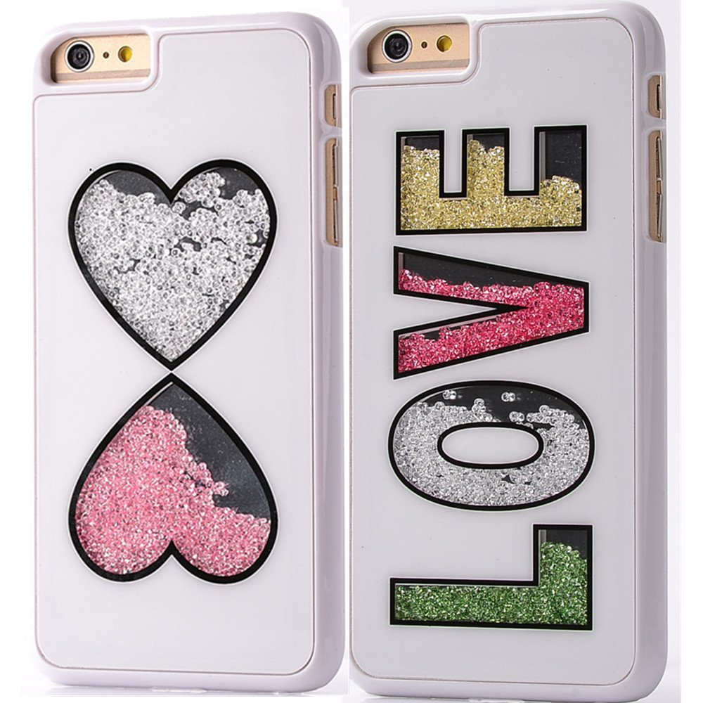 iPhone 6 / 6S 4.7 Handmade Case, Bling Colorful Moving Diamond 2 packs Rhinestone Protective Shell Hard Back Case