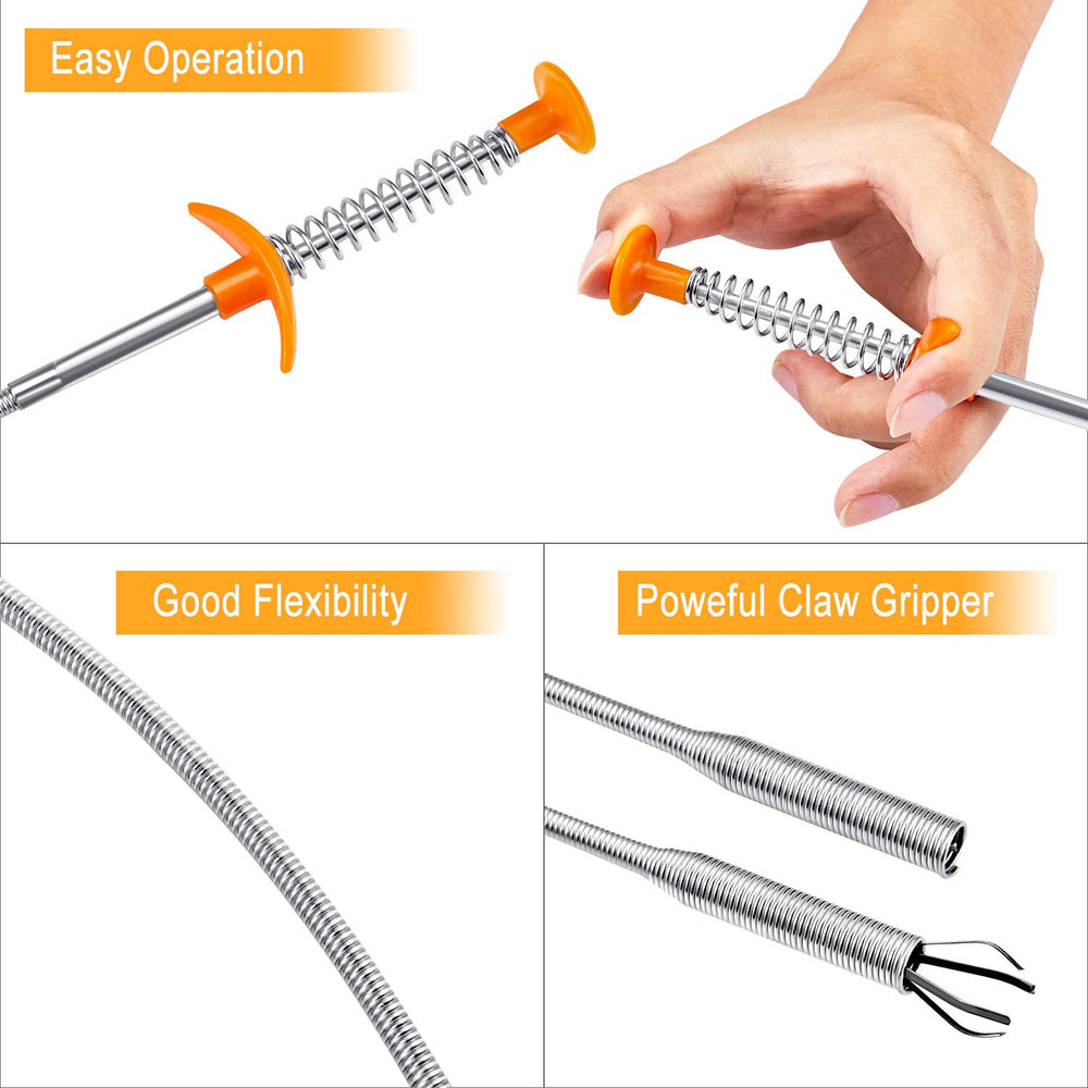 Drain Snake Hair Remover [ 23.5 Inch ; 35.5 Inch ], 8 PSC iYoYo Drain Clog Remover Tool Sink Snake Tool Sink Clog Remover