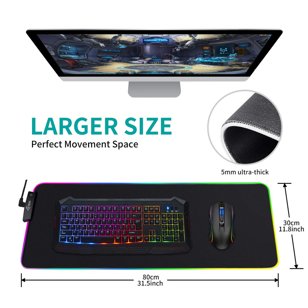 RGB LED Gaming Mouse Pad ICETEK Large RGB Led Lighting Soft Mousepad with USB, Non-Slip Rubber Base Computer Keyboard Pad Mat (XXL)
