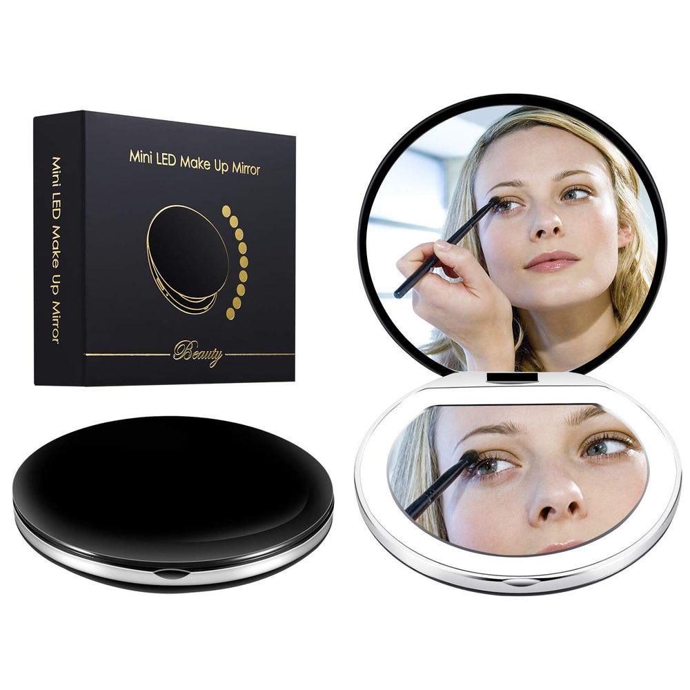 Led Compact Mirror [2019 Newest] Lighted Travel Makeup Mirror Rechargeable Led Purse Mirror Portable with Lights 1X 4X Magnification, Low/Middle/High Brightness Adjustable (Round, Black)
