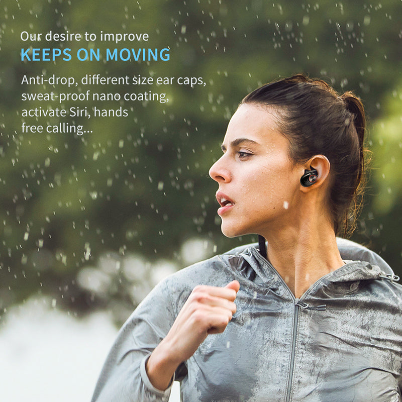 Bluetooth 5.0 Stereo 3D Sound  Sports Run Sweat Proof Noise Cancelling True Wireless Headphone Earbuds Earphone