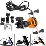 2in1 USB Universal Chargeable Motorcycle Phone Holder 360 Motorbike Universal Rotating Mount Mobile Rearview Mirro Phone Stand