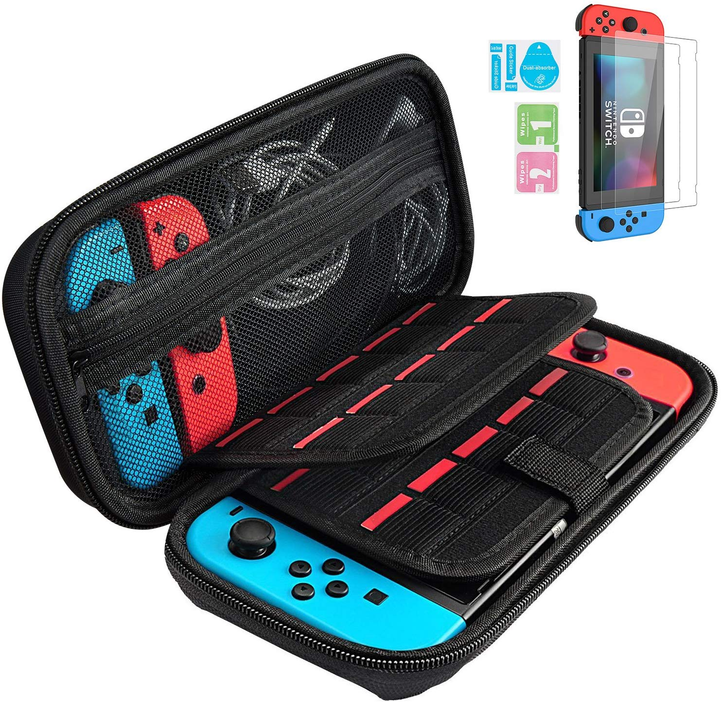 Nintendo Switch Carry Case + 2pcs Tempered Glass Screen Protector, Gim Portable Protective Hard Shell Cover Travel Storage Bag With 20 Game Cartridge For Nintendo Switch Console & Accessories