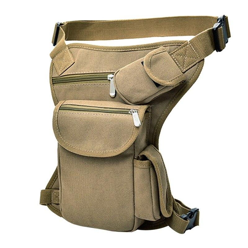 Men Military Tactical Travel Riding Motorcycle Bag Portable Waist Messenger Bag Casual Canvas Drop Thigh Leg Multi- Pouch