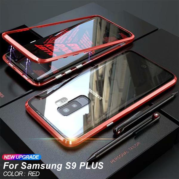 ANTI-KNOCK METAL MAGNETIC FRAME 9H TRANSPARENT  Glass Protective Case FOR SAMSUNG