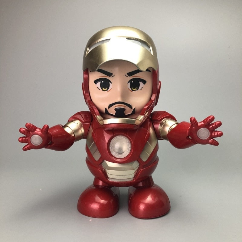 Can Dance Iron Man Marvel Avengers Action Figure Toy Led Flashlight With Light Sound Music Robot Iron Man Hero Electronic Toy