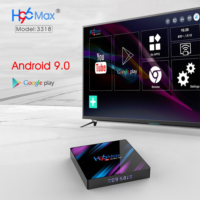 H96 MAX RK3318 Smart Android TV Box 16GB 32GB 64GB Media player 4K Wifi Netflix Set top Box Media Player Youtube Android 9.0 BOX