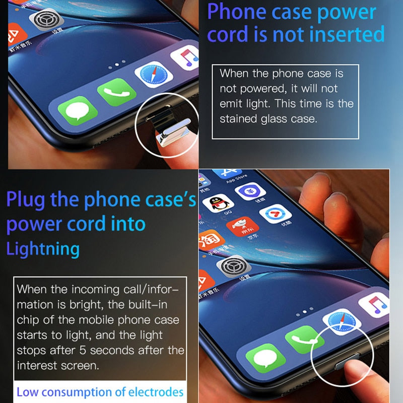 Have Led Glowing LOGO Phone Case For Apple iPhone XS MAX XR X 6 6s 7 8 Plus Glass Back Cover Luminous Silicone LED Light up Capa