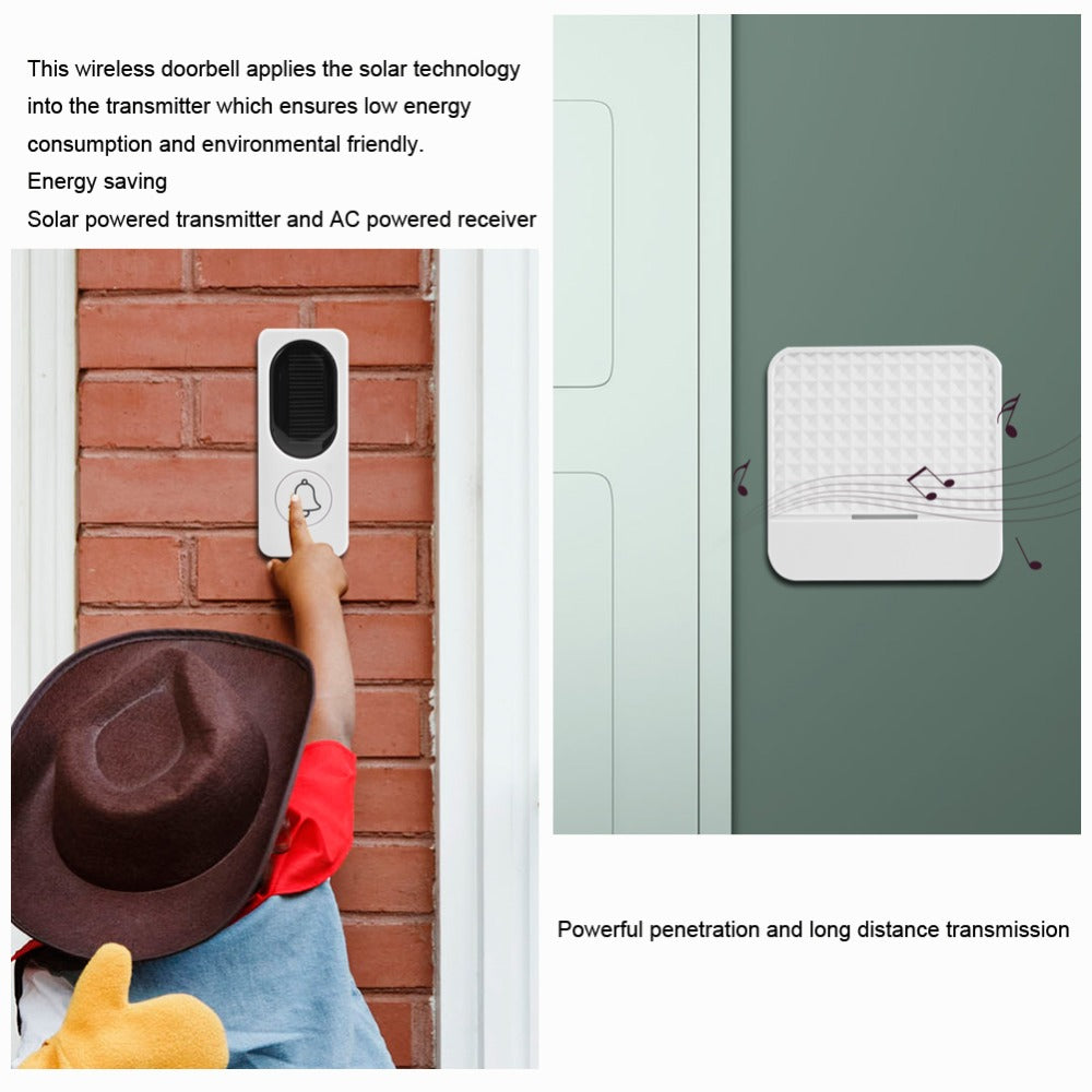 High Quality Professional 52 Tunes Wireless Doorbell Solar Panel Transmitter Ring button + Plug-in Receiver Chime Home Door Bell 90~260V