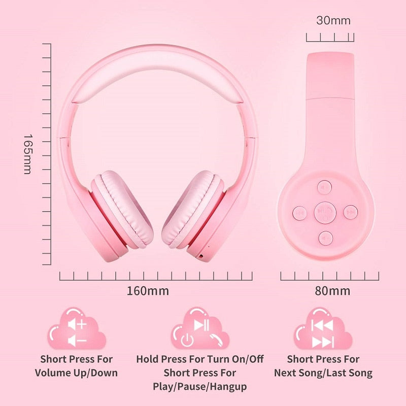 Hisonic Kids Headphone Foldable Noise Reduction Child Earphone Headset Wireless  boy girl headset with Microphone kid headset