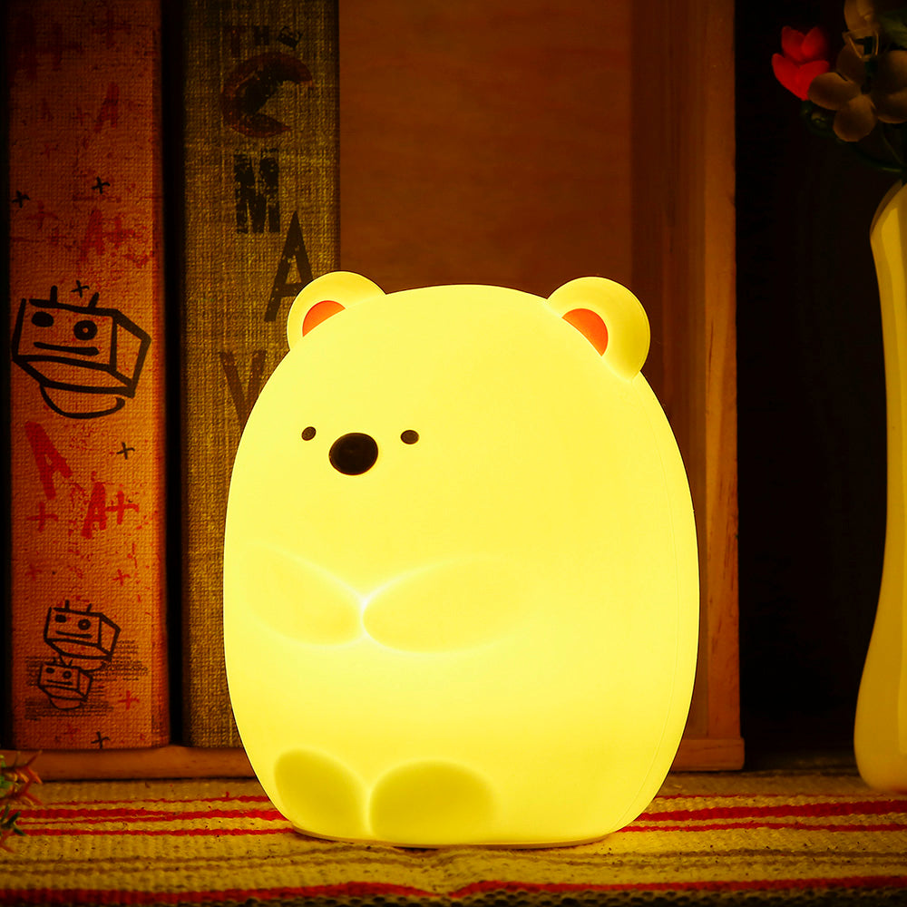 Hot Sale Touch Sensor Silicone LED Colorful Bear Night Light Rechargeable Tap Control For Bedroom Living Room