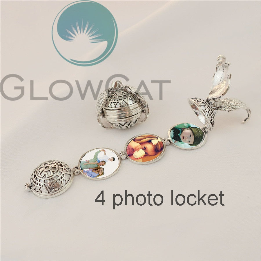 Magic 4 Photo Pendant Memory Floating Locket Necklace Angel Wings Flash Box Fashion Album Box Necklaces