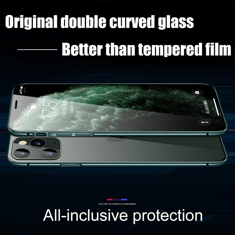 Magnetic Metal Case For iPhone 11 Pro Max XR XS MAX X Tempered Glass Magnet Cases Cover For iPhone 8 7 6s Plus Double Sided Case