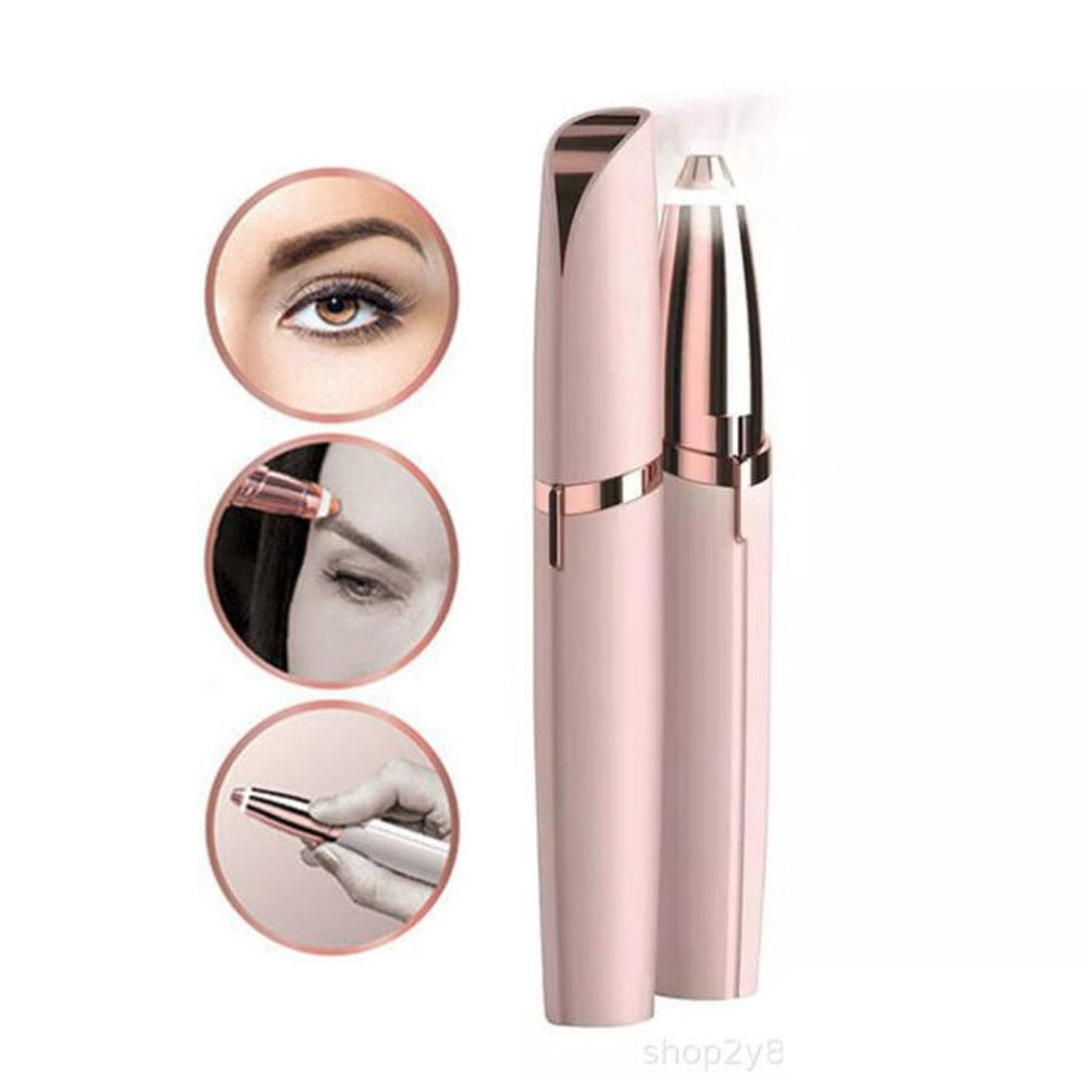 Mini Electric Eyebrow Trimmer Lipstick Brows Pen Hair Remover Painless Eye brow Razor Epilator with LED Light OPP Package