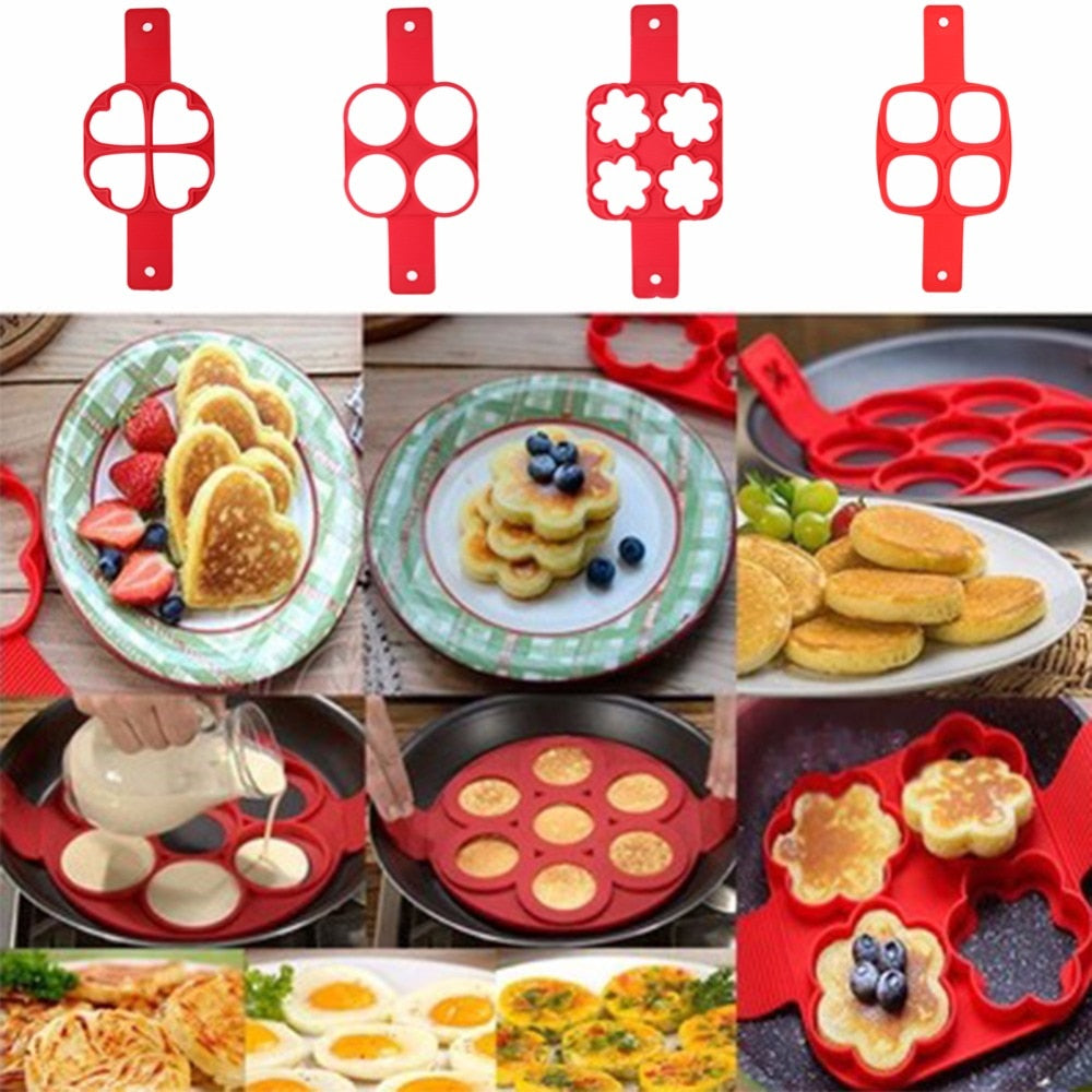 Nonstick Pancake Maker Mold Silicone Egg Ring Square Heart Round 4/7/10 Holes Fried Eggs Mold Kitchen Cooking Tool