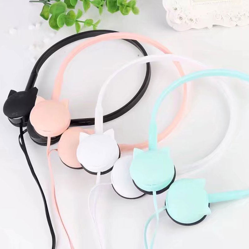 Pink Cute Cat Headphones Girl's Birthday Gift Stereo Headset Colored Earphones with Mic for iPhone MP3 Kids With Retail box