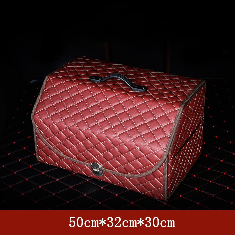 Premium Embroidered Microfiber Leather Folding Car Trunk Organizer Storage Box With Lock and Cover For Vans, SUV, Cars, Trucks