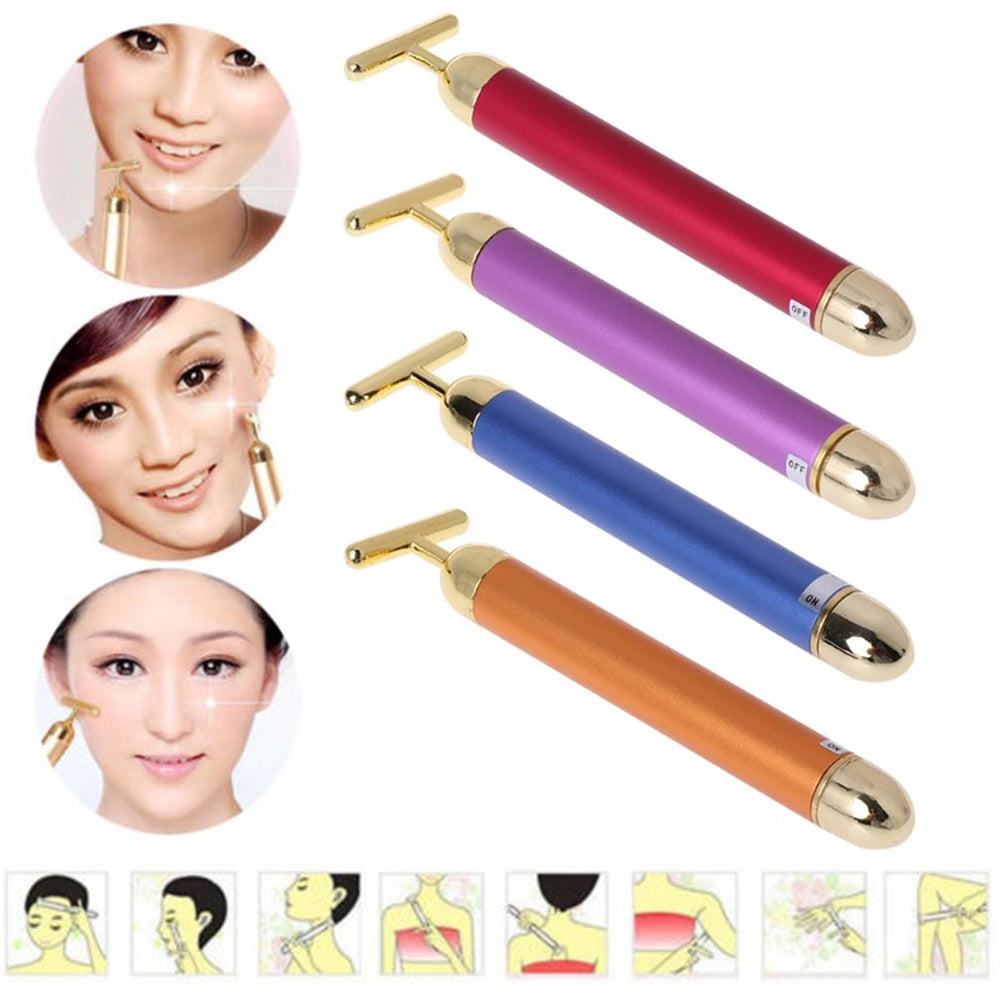 Slimming Face roller   24k Gold Colour Vibration Facial Beauty Roller Massager Stick Lift Skin Tightening Wrinkle Bar