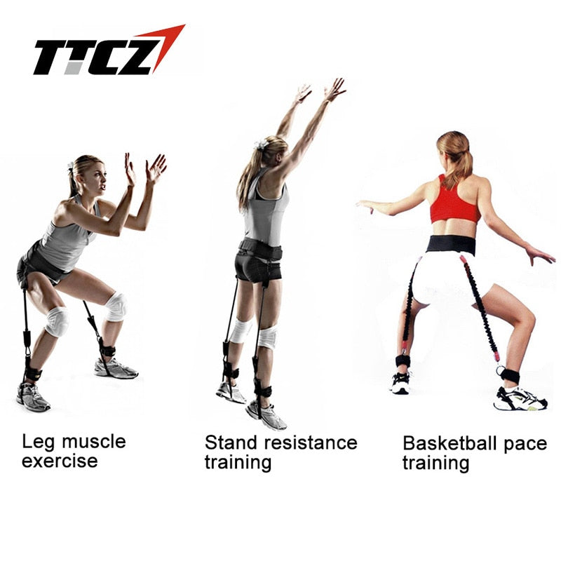 TTCZ Fitness Bounce Trainer Rope Resistance Band  Basketball Tennis Running Jump Leg Strength Agility Training Strap  equipment