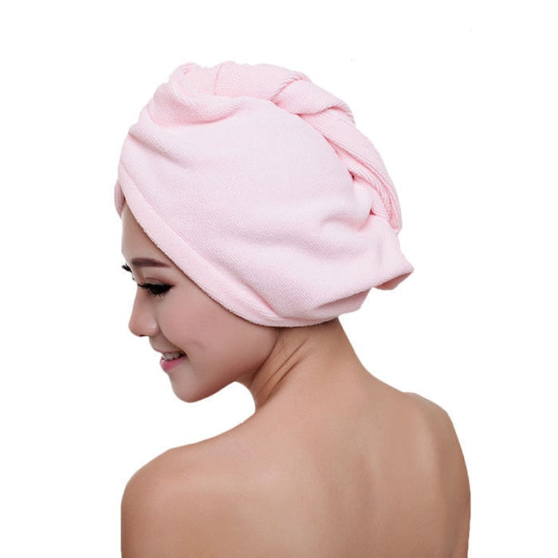 5pcs Pack Dry Hair Bath Towel Microfiber Quick Drying Turban Super Absorbent Women Hair Cap Wrap with Button thicken