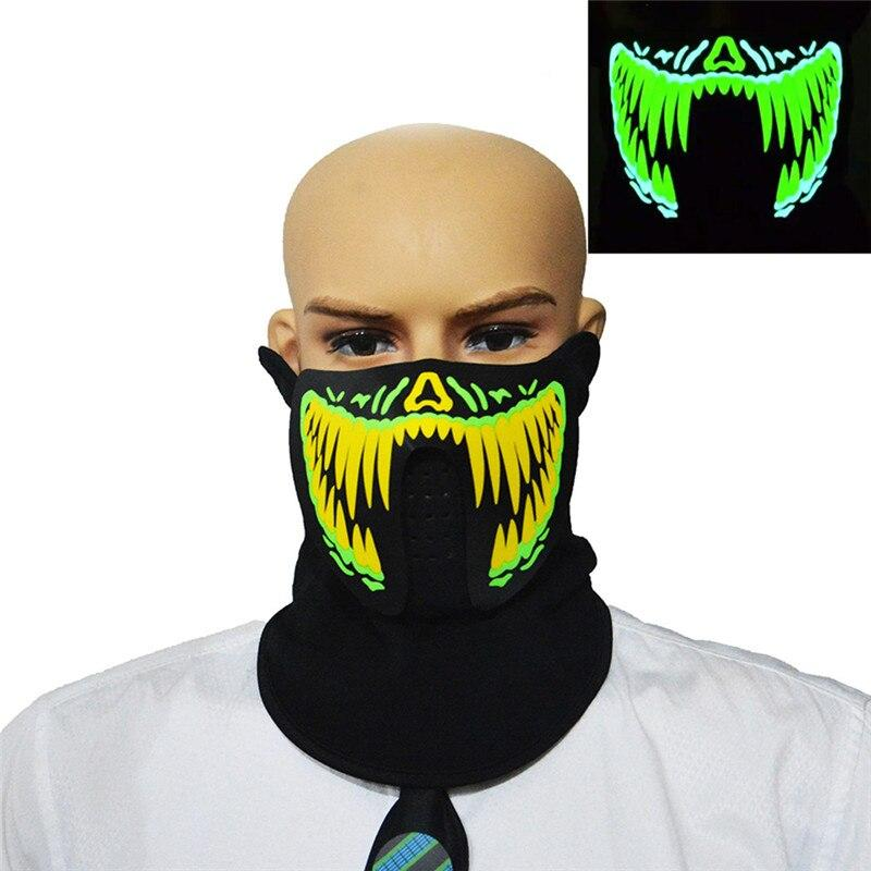 Halloween LED Mask Cold Light EL Music Sound Control Luminous Mask Light Up Bar Party Supplies Riding Warm Mask