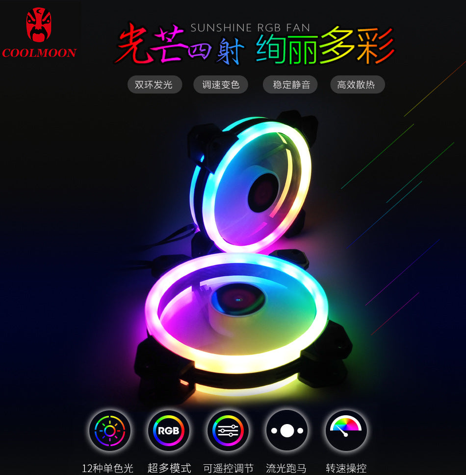 3-in-1 Kit LED PC Computer Adjustable Colorful Cooling COOLMOON Case Fan (5 Pack)