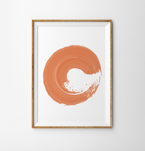 Abstract art orange Poster neutral Mid Century Watercolour Art print Large Wall Art Prints orange Minimalist Print Modern Decor living room