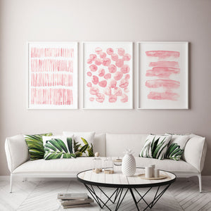 Set of 3 Abstract Pink Scandinavian Prints