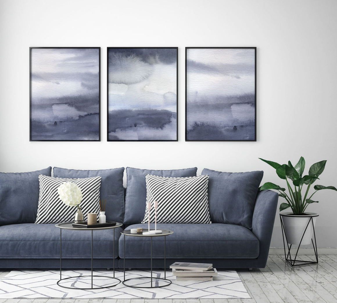 Set of 3 Indigo Blue Abstract