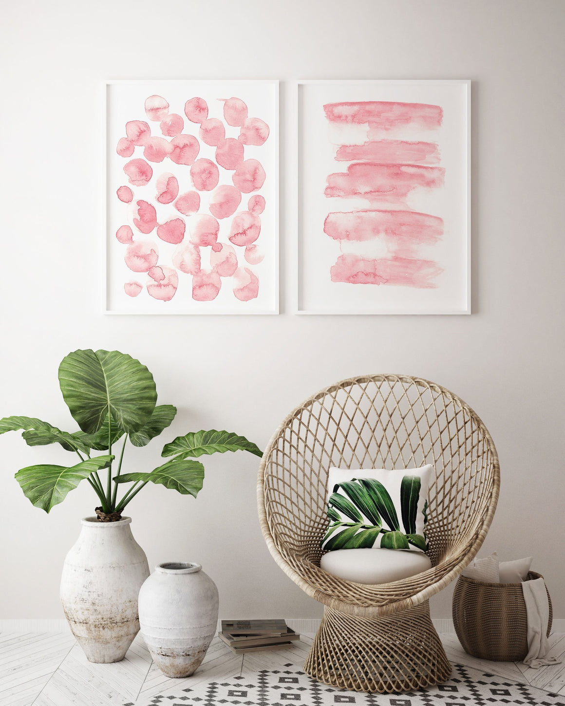 Set of 2 Blush Pink Abstract Painting