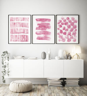 Set of 3 Dusty Blush Abstracts