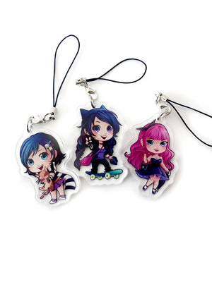 kawaii anime and manga inspired keychains of Anna Blue, Lyds and Zoe as seen in Silent Scream