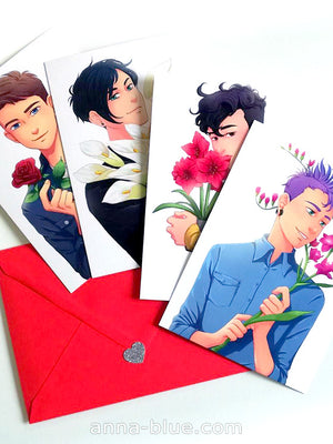 Valentine's Day postcard set featuring Damien Damien, Henry, Adrian and Tám. Including red envelope.