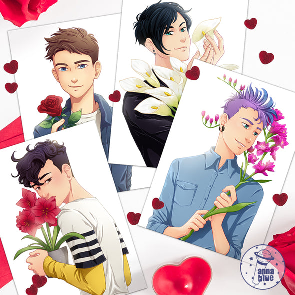 Valentine's Day postcard set featuring Damien Damien, Henry, Adrian and Tám.